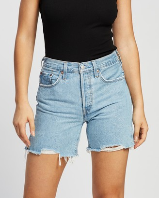 Levi's Women's Blue Denim - 501 Mid-Thigh Shorts - Size 25 at The Iconic