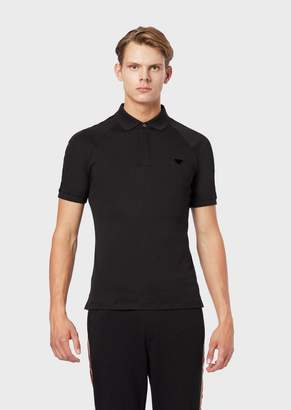 Emporio Armani Interlock Jersey Polo Shirt With Eagle Patch