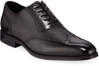 Kenneth Cole Mixed Leather Wing-Tip Oxford Dress Shoes