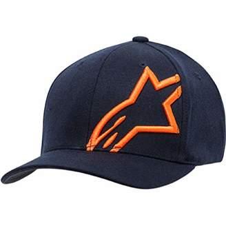 Alpinestars Men's Logo Flexfit hat Curved Bill Structured Crown Corp Shift Navy/Orange S/M