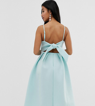 Asos DESIGN Petite bow back midi prom dress-Green