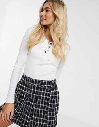 Hollister long sleeve lace up top