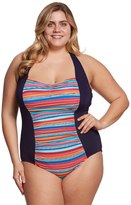 Anne Cole Signature Plus Size Triangle Stripe Halter One Piece Swimsuit 8151767
