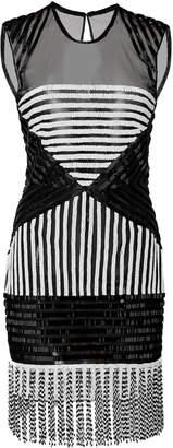 Naeem Khan Optical Fringe Mini Dress