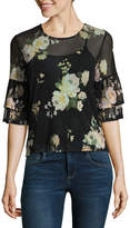 Almost Famous Elbow Sleeve Scoop Neck Mesh Floral Blouse-Juniors