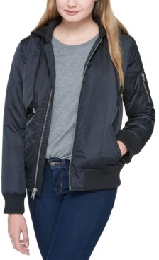 Levi's Classic Flight Satin Bomber Jacket with Jersey Hood