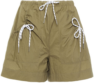 Ganni Bow-detailed Ruched Shell Shorts