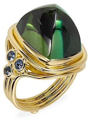 Temple St. Clair 18K Yellow Gold, Green Tourmaline & Blue Sapphire Classic Sugar Loaf Ring