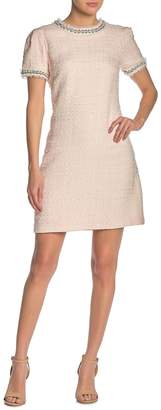 Betsey Johnson Faux Pearl Embellished Tweed Dress