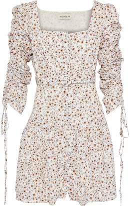 Nicholas Belted Ruched Floral-print Crepe De Chine Mini Dress