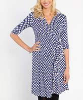 Angel Maternity Angel Blue & White Geometric Mock Wrap Three-Quarter Sleeve Dress