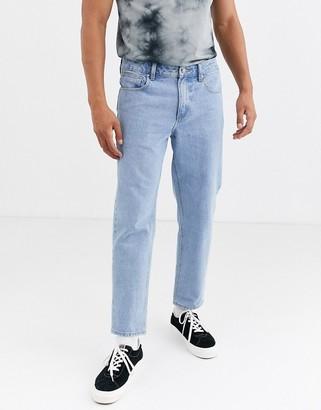 Asos Design DESIGN classic rigid jeans with elasticated waist in stone wash-Blue
