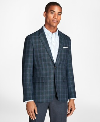 Brooks Brothers Windowpane Wool Linen Twill Sport Coat