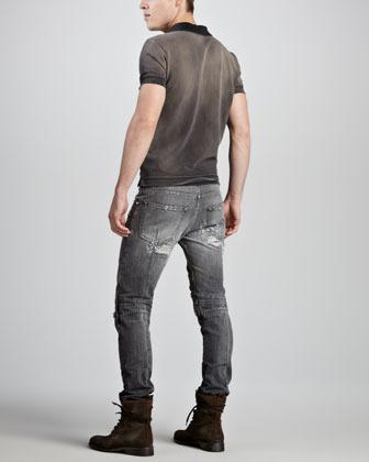 Balmain Pierre Distressed Biker Jeans, Gray