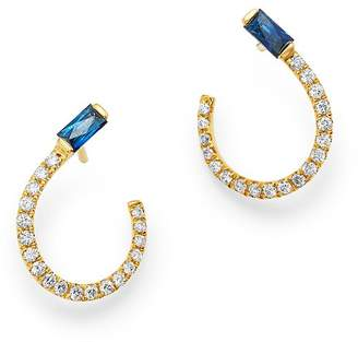 Bloomingdale's Blue Sapphire & Diamond Front-to-Back Earrings in 14K Yellow Gold - 100% Exclusive