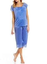 Cabernet Lace-Trimmed Satin Pajamas