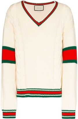 Gucci Web trim V-neck jumper