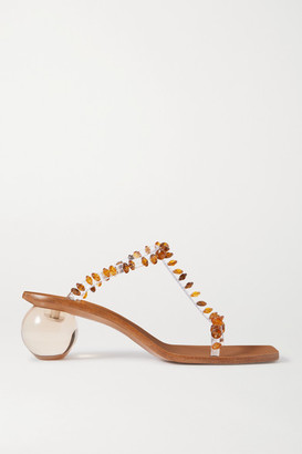 Cult Gaia Clio Bead-embellished Pvc Mules - Clear