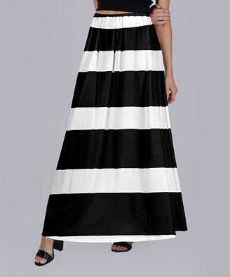 Beyond This Plane Women's Maxi Skirts BLK - Black & White Stripe Maxi Skirt - Women & Plus