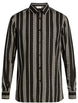 Saint Laurent Striped star-print twill shirt