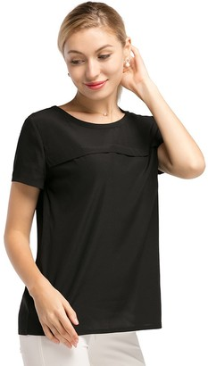 LilySilk Silk T Shirt Blouse for Women Short Sleeve Casual Round Neck 19MM Soft Mulberry Natural Silk Tops Summer Black Size L