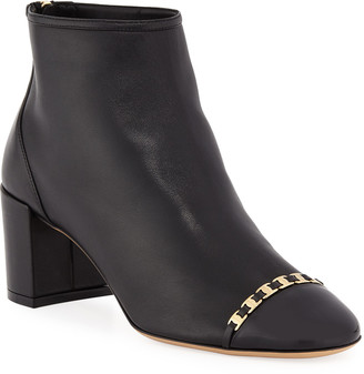 Salvatore Ferragamo Atri Cap-Toe Booties with Mini Buckles