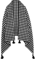 J.Crew Tasseled Check Wool-blend Cape - Black