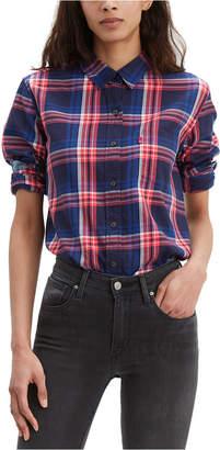 Levi's Women Ultimate Cotton Plaid Button-Back Shirt