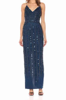 Adrianna Papell Women's Long Beaded Slip Dress
