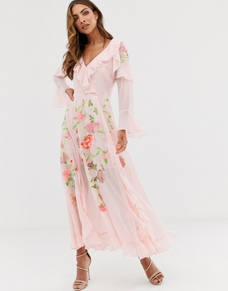 Asos Design DESIGN embroidered wrap maxi dress with long sleeves-Pink