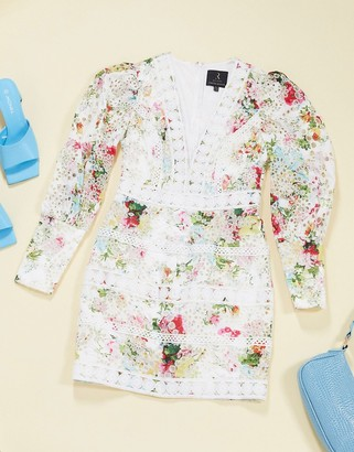 Rare London long sleeve lace dress in multi