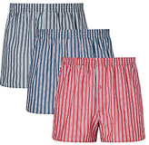 John Lewis Rochester Stripe Woven Cotton Boxers, Pack Of 3, Blue/navy/red