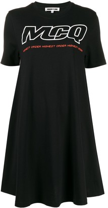 McQ Logo Print Babydoll Dress
