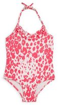 Milly Minis Toddler's & Little Girl's One-Piece Shimmer Cheetah Ruffle Swimsuit