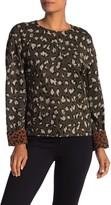 Diane von Furstenberg Long Sleeve Leopard Print Jacquard Sweatshirt