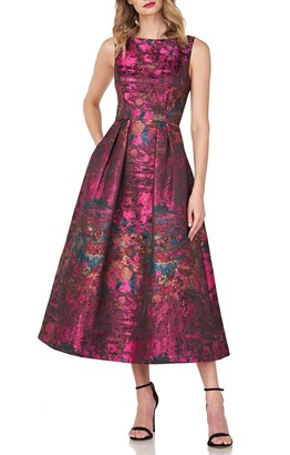 Kay Unger Luna Abstract Jacquard Cocktail Dress