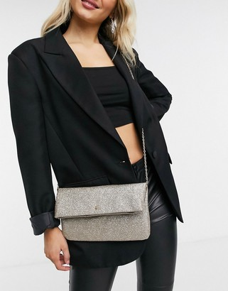 Accessorize fold top clutch bag with chain in gold