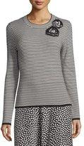 Kate Spade Ribbed Striped Rosette Sweater, Black