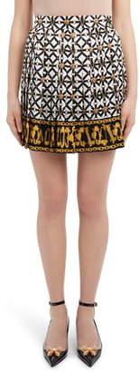 Versace Harness Print Pleated Silk Miniskirt
