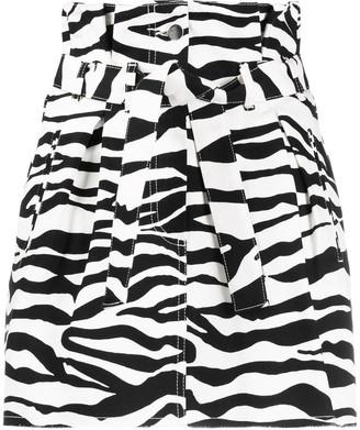 ATTICO Zebra Print Denim Skirt