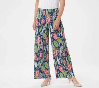 Joan Rivers Classics Collection Joan Rivers Regular Floral Print Accordion Pleat Palazzo Pants