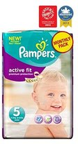 Pampers Active Fit Nappies Size 5 Monthly Pack - 136 Nappies - Pack of 2