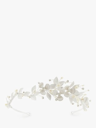 Ivory & Co. Enamel Leaves and Freshwater Pearls Tiara, Silver