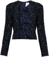 Ashish Sequin-embellished front-bow silk top