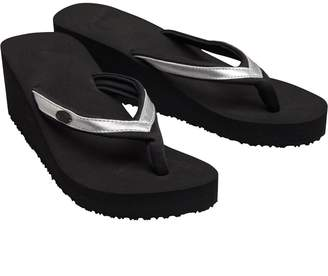 Animal Womens Swishie EVA Wedge Flip Flops Black