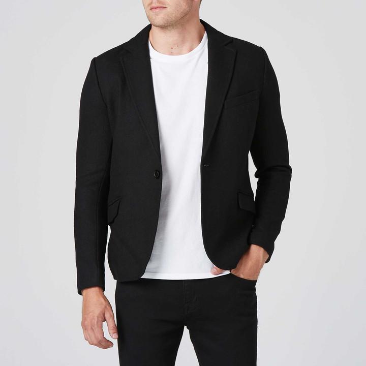 DSTLD Mens Slim Wool Blazer with Leather Collar in Black