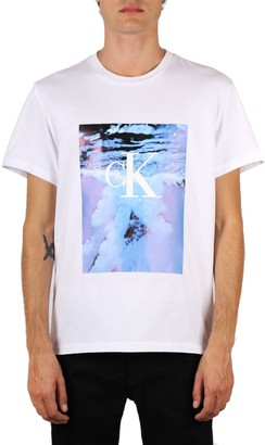 Calvin Klein Jeans Multicolor Print White Cotton T-shirt
