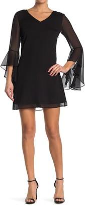 Kensie Bell Sleeve Shift Dress