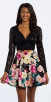 Camille La Vie Sequin Lace Long Sleeve Two Piece Homecoming Dress