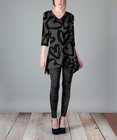 Lily Gray & Black Hearts Handkerchief Tunic & Leggings - Plus Too